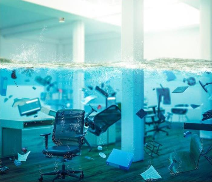Room under water with furniture swimming around